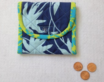 Coin Purse, change case, business card holder, purse organizer, blue Joel Dewberry flowers, gift idea for mom, friend, coworker, sister
