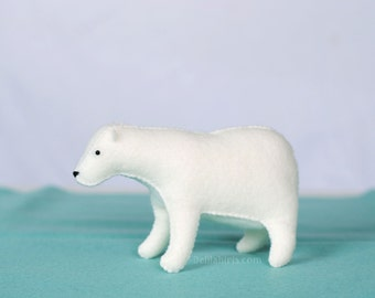 Hand Stitched Stuffed Polar Bear * Felt Bear Toy * Waldorf Toy * White Bear * Made To Order Children's Gift