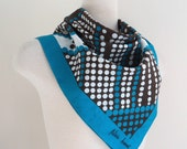 Vintage Designer Scarf // PATRICIA DUMONT // Polkadot Scarf // Italian Made Scarf // Blue-Teal Brown White