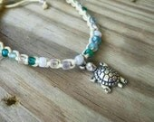Sea Blues with Turtle Charm Anklet Size and Color Choice