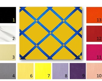 20 x 24 Solid Cotton Broadcloth French Memo Board  with Ribbon  -  Bulletin Board - Your choice of fabric and  ribbon colors