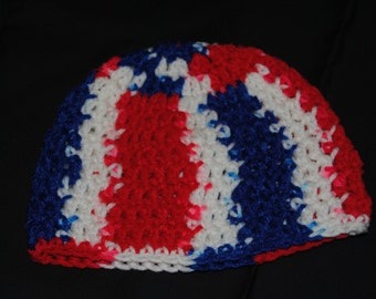 Red, White, and Blue Crochet Baby Hat, Patriotic Baby, Baby Hat for the Fourth