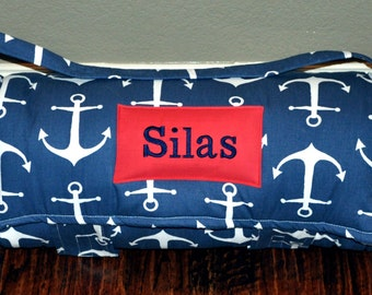 Nap Mat -  Monogrammed Navy Anchors Nap Mat with Red Double-sided Minky or Minky Dot Blanket