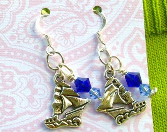 SHIP Earrings:  Blue Swarovski, Hand wire-wrapped, Tibet Silver, Summer, Ocean, Sailing, RedRobinArt, Grigsby Gallery & Gifts