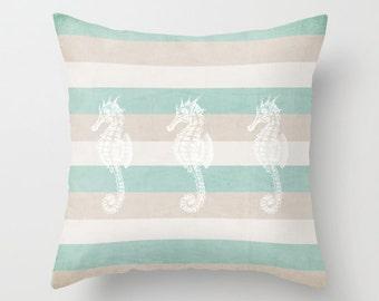 beach pillow, coastal decor,  pillow cover, typography, seahorse,quote, aqua, stripes,throw pillow,decorative pillow