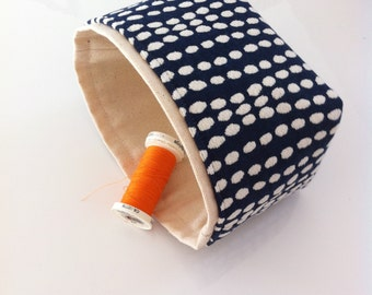 mini fabric storage bin // blue and cream textured // modern basket