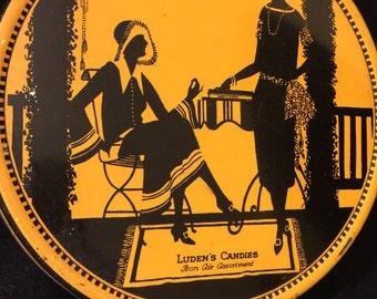 Wonderful 8 Inch Rd. Luden's Candy Tin - Bon Air Assort - Art Deco