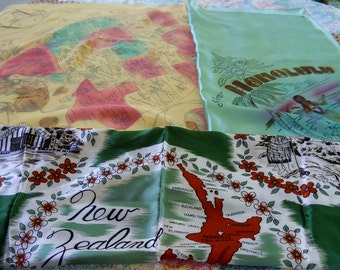 Vintage Souvenir Scarves New Zealand Honolulu US West for upcycling lot 3