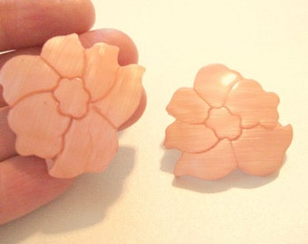 Peach Flower Earrings Vintage Pink Shell Earrings Bridesmaid Earrings Post Earrings
