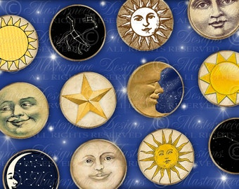 Sun Moon and Stars / Tags / Labels - Printable INSTANT DOWNLOAD 1.5 Inch Round Designs Digital JPG Collage Sheet