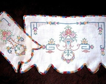 Vintage Runner Tablecloth Doily Colorful Embroidered Cross Stitched Doilies Dresser Set