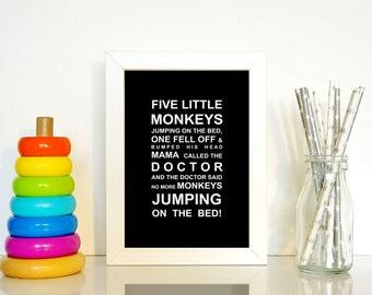 A5 unframed Five Little Monkey's Nursery Wall Art Print
