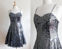 Vintage Gunmetal Sequined Black FIt and Flare Party Dress