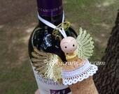 Sale Handmade  Angel tree ornament, wine bottle tag/gift tag