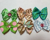 6 Assorted Summer 2015 Dog Grooming Hair Bow with Rhinestone Center - Blue, Pink, Green