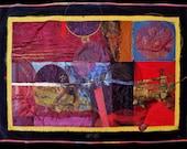 Fiber Art, Floral Wall Hanging, Art Quilt, non-traditional quilt, collage art, fiber collage, Textile art