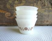 Vintage Brown Daisy Dynaware Pyr-O-Rey Custard Cups