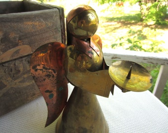 Vintage Brass and Copper Angel Candle Holder Made in Hong Kong