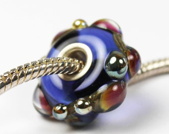 Lampwork Glass Charm Beads, BHB Sterling Silver European Blue Big Hole 'Blue Sunset'