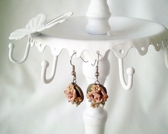 victorian earrings, vintage earrings, flower earrings, rose earrings, romantic earrings, boho earrings, boho jewelry, victorian jewelry