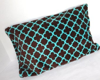 Fits 12 x 16 Pillow Minky Toddler Pillowcase Chocolate Brown and Aqua Print Quatrefoil  Youth Pillow Case Travel Size Pillow Cover