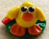 Baby Chick Scene with Flowers OOAK Polymer Clay