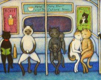 The C Train. Original Heidi Shaulis oil painting of cats riding the subway