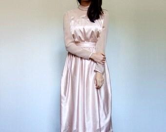 Evening Gown Vintage 70s Beige Nude Party Dress Sheer Long Sleeve Maxi Dress Elegant Formal Dress - Medium Large M L