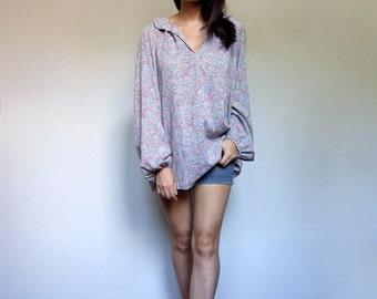 70s Peasant Blouse Top Vintage Long Sleeve Casual Summer Shirt Plus Size - XL XXL 2XL