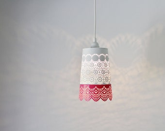 Pink & White Lace Pendant Lamp, Colorful Hanging Lighting Fixture With A Metal Mesh Lace Shade, Modern BootsNGus Lights And Home Decor