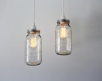 Mason Jar Pendant Lights, 2 Clear Half Gallon Mason Jar Hanging Pendant Lighting Fixtures, Upcycled Industrial BootsNGus Lamps & Decor