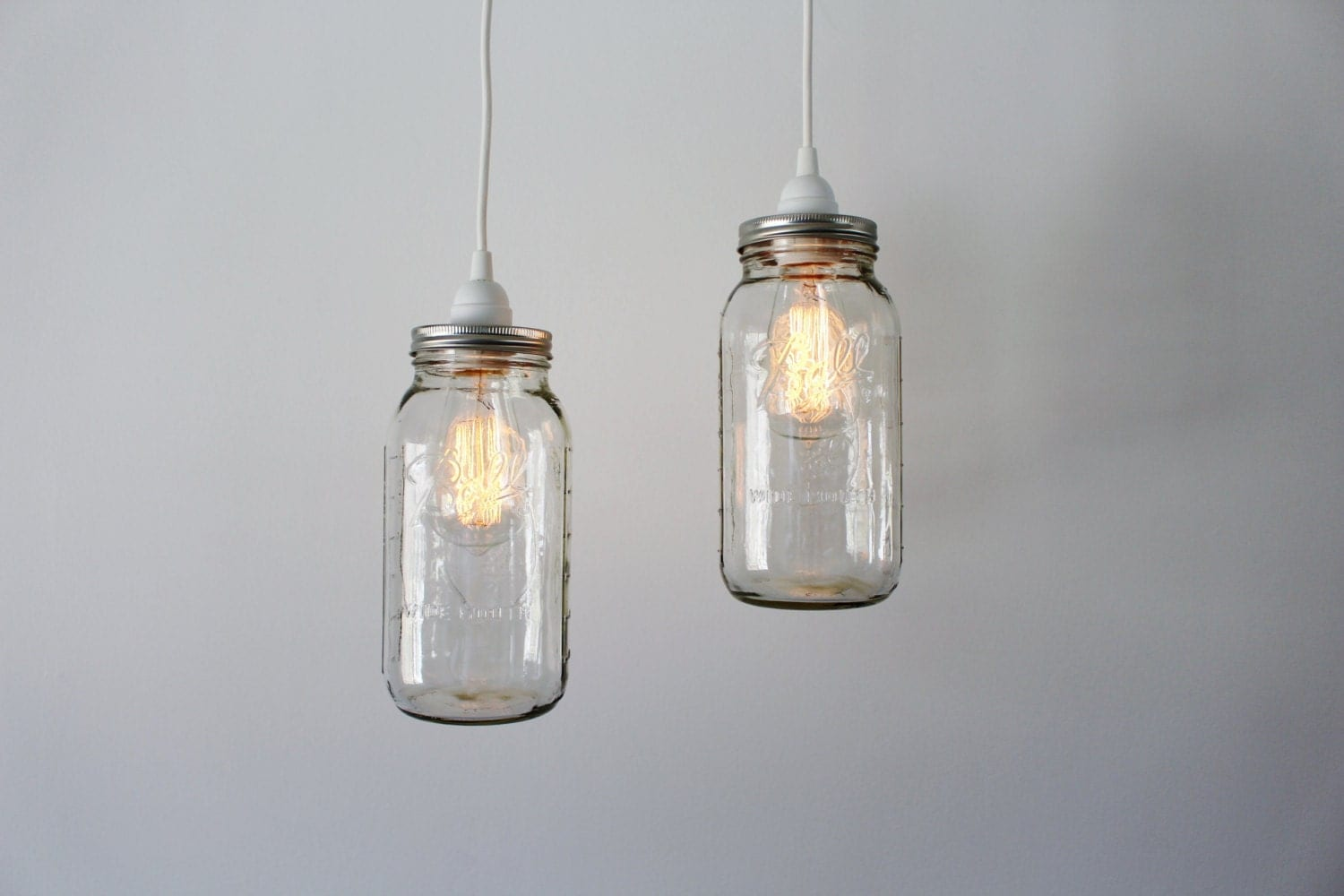Mason jar pendant lights 2 clear half gallon mason jar for Hanging lights made from mason jars