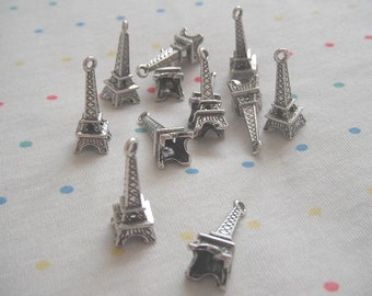 "Antique Silver Eiffel Tower Paris Charms, Antique Finish, Alloy Metal, 1"" Long (20)"