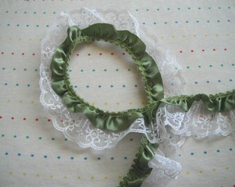 "Olive Green Satin and White Lace Ruffle Trim, 2"" Wide"