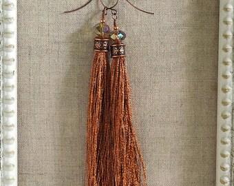 Bohemian Fringe Earrings in Copper