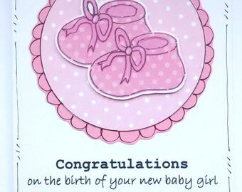 Baby Girl Card - Congratulations New Baby - Personalised - Pink Bootees - Handcrafted Card