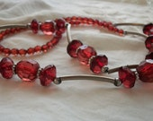 Vintage 1920s Flapper Style Red Art Deco Faux Crystal Bead and Metal Necklace Very Unique One Size