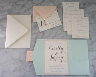 Mint Wedding Invitation - Mint with Soft Coral, Script, Elegant, Classic - Sample Set