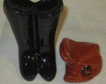 Equestrian Boots and Saddle Salt & Pepper Shaker ~ Ceramic ~ Item 367