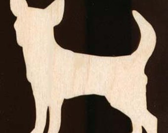 Chihuahua Dog shape Natural Craft Wood Cutout 1039