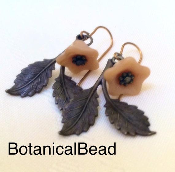 Vintaj brass leaf earrings, blue flower earrings, flower and leaf earrings, botanical earrings