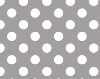 Gray Medium Dots Fabric by Riley Blake Designs - Grey Dots Fabric - Half Yard - 1/2 Yard