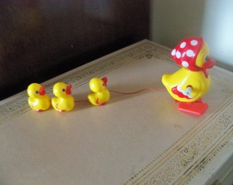 wind up ducky with baby duckies super cute polka dots