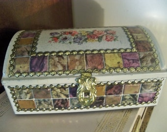 vintage mosaic look  treasure tin box