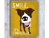 Mutt Art, Smile Art, Dog Sign, Wooden Sign, Yellow Wall Art, Brown Dog Art, Dog Lover Gift, Wood Dog Sign, Pet Lover Gift, Wood Plank