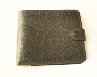 Classic black and gold real leather combined wallet and photo sleeve, Made In England
