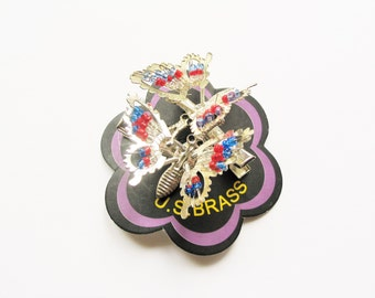 Butterfly hair grips: super 1990s kitsch silver tone blue and red glass bead springy articulated hair clips, hair slides, hair pins
