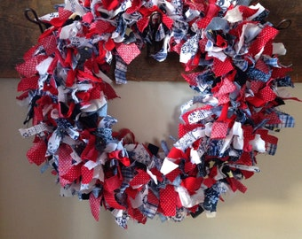 happy scrappy rag wreath - fabric - summer wreath - red white and blue - patriotic - July 4th wreath -  12 in front door wreath