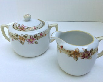 Nippon Handpainted Creamer and Sugar Set