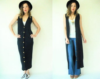 Donna Karan Black Label Vintage 90's Navy Blue Knit Maxi Sweater Dress Jumper Long Cardigan Gilet Vest / Slim Pencil Fit
